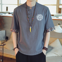 Mens short-sleeved T-shirt embroidery Chinese style tide Chinese clothes casual half-sleeved summer loose thin mens