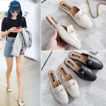 Slippers female summer wear 2018 new spring shoes Baotou shoes semi-trailer lazy shoes flat sandals French tide shoes