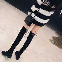 Knee boots womens boots 2018 autumn and Winter new thin flat small pepper net red plus velvet high boots children