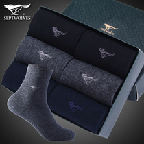 Seven wolves socks mens cotton mens socks business Black autumn and Winter Warm deodorant cotton thickened tube stockings