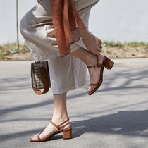 Summer word buckle sandals female thick with summer Roman open toe sexy with wild simple leather shoes