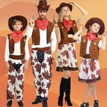 Halloween Childrens Cos Party Denim Costume Adult Men and Women Western Cowboy Family Parent Costumes