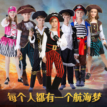 Childrens day little boy little girl Pirates of the Caribbean captain costume boy girl pirate Clothes Show costume cos