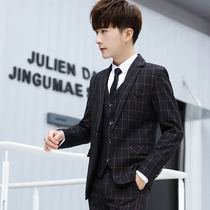 Mens Suit Suit three-piece trend Korean slim handsome plaid small suit business casual dress dress