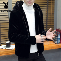 Playboy imitation Mink cashmere male jacket winter Korean version slim handsome thick imitation cashmere jacket men tide