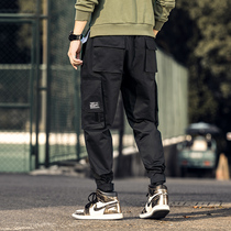 Autumn men's overalls Korean version of the trend of the feet of sports pants 2019 New Tide brand Velcro casual trousers