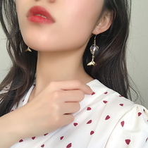 Glass ball romantic fishtail earrings female long section temperament net Red Korean Super fairy earrings was thin wild personality earrings