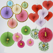 Paper fan flower decoration flower fan set charm window stage kindergarten Corridor Air pendant 520 dress supplies