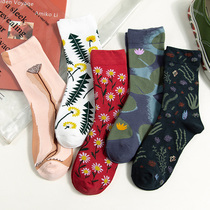 Socks female Korean version ulzzang autumn and winter art flower socks retro style Sen fashion female socks tide fashion