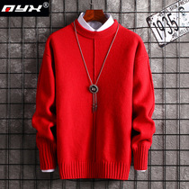 Big red sweater mens round neck pullover winter mens trend handsome line coat jacket student clothes