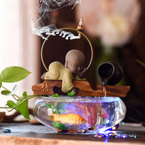 Fish tank circulation water machine tea table coffee table on the decorations Lucky Town House back flow fragrant feng shui fountain small ornaments