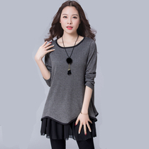Large size was thin womens long-sleeved T-shirt loose cover belly dress t fat mm long Mother autumn coat