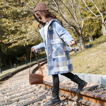 Girls autumn and winter jacket 2019 New woolen coat large children long cotton Korean version of the foreign wave