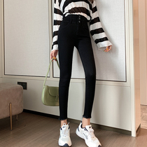 Different tone 2019 autumn and Winter new black jeans women stretch thin tight Hyuna high waist nine points pants