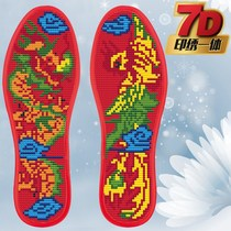 Cross stitch pinhole insole cotton full embroidery semi-finished precision printing wedding sweat does not fade Dragon 87 flowers