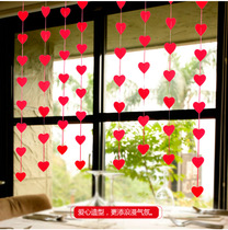 Wedding supplies curtain ornaments wedding room creative decoration non-woven love pull flower wedding room DIY heart pendant