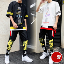 2019 new casual sports suit mens fashion handsome short-sleeved nine-piece pants two-piece summer set of clothes