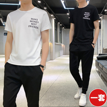 Summer short-sleeved two-piece t-shirt set mens Korean version of the trend slim sports casual personality handsome set of clothes
