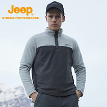 jeep flagship store official genuine Jeep outdoor half cardigan fleece men's hedging plus velvet fleece jacket