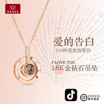 18K gold diamond necklace female 520 love confession I love you pendant rose platinum clavicle chain Shake tone with