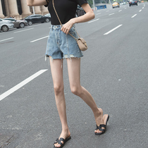 2019 summer new denim shorts female high waist was thin wear a word wild loose wide leg Korean hot pants tide