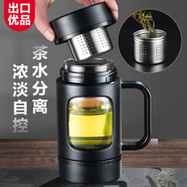 Rich light glass will carry the tea water separation tea cup office Cup male large capacity tea Home Cup