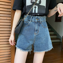 Denim shorts female 2019 new outer wear high waist thin Korean version loose wide legs bf wind students five hot pants tide