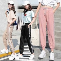 Summer sports pants female (single two loaded)students Korean version of Harajuku style thin section loose Super fire ins09