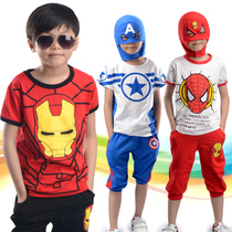 2019 new summer children Captain America boys Iron Man clothes short sleeve suit