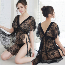 200 kg large size sexy lingerie lace temptation fat mm perspective V-neck hot sexy nightdress plus fertilizer to increase short-sleeved