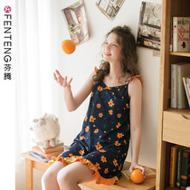 Fen Teng summer strap nightdress female cotton thin section sexy pajamas cotton girl Korean cute home service skirt