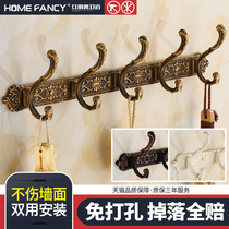 Free punch hanging hook toilet coat hook bathroom wall hanging hook wall European row hook free punch clothes hook