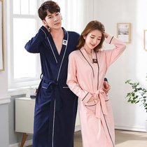 Couple pajamas nightgown spring and autumn cotton long-sleeved lengthened mens bathrobe female bathrobe morning robe SPA sweat steam clothes