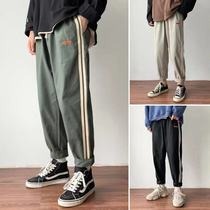 @Square less men's Korean version of the fall trend striped sports casual pants male youth wild loose nine pants