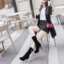 Short boots women winter plus Cashmere High Heels fine with the boots spring and autumn single boots sleeve with skirt wear boots were thin
