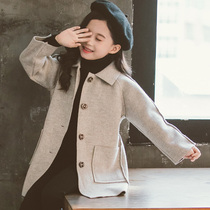 Girls woolen coat 2019 new Korean style autumn and winter clothes in the large childrens fashion beige woolen jacket