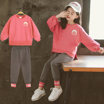 Girls autumn new Western set childrens autumn fashion casual solid color two-piece childrens autumn models female