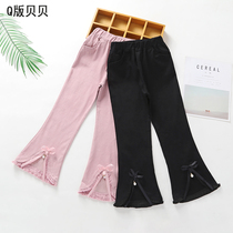 Girls micro bell bottoms autumn children spring and autumn Korean version of the Princess wild stretch tight children pants tassels