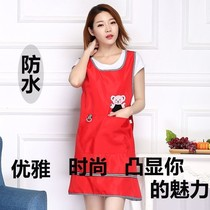 Strap fashion princess waterproof apron new back Restaurant womens cross sleeveless kitchen anti-oil Korean version of the workers
