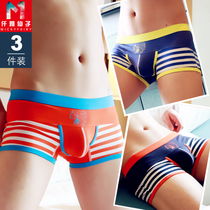 Breathable mens underwear large size pants personality stripes summer trend sexy summer pants Four Corners pants