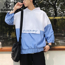sundipy Japanese summer mens hooded short-sleeved five-point sleeve casual embroidery letters tide male spell color half-sleeved T-shirt