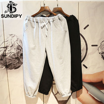 sundipy loose mens cotton casual 9 nine points sports pants trend ins solid color elastic waist beam foot pants