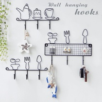 Convenient trumpet hanger door retro beautiful decoration Nordic living room hook shelf kitchen wall multi-function