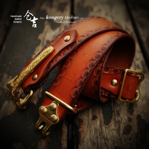 Warehouse Kyrgyzstan handmade retro casual wild cavalry belt Mens cavalry belt leather Knight belt head layer leather belt
