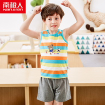 Antarctic childrens short-sleeved suit 2018 cotton baby summer large childrens boys vest shorts sportswear
