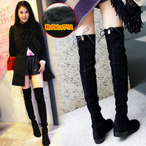 Knee-length boots female Flat 2018 Winter season new long boots high boots women boots stretch cotton horse boots