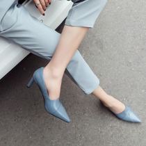 Pointed rough with a single shoe women 2019 spring new models shoes a pedal nude color high heels with leather shoes