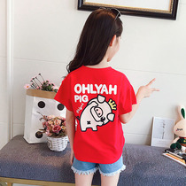 2019 new Summer Girls t-shirt child T-shirt short-sleeved Air baby children's wear loose shirt half sleeve cotton