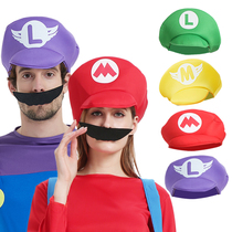 Childrens adult super Mary costume show dress red Mario hat green Louis hat three-dimensional hat
