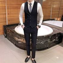 Mens three-piece suit slim shirt hair stylist plaid pants Korean tide Suit suit vest mens best man